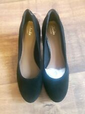 CLARKS CHORUS CHIC BLACK SUEDE LEATHER HEELS SHOES LADIES SIZE UK7