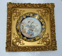Antique GILT GESSO WOOD Shadow Box FRAME Military PORCELAIN Plate SEVRES SIGNED