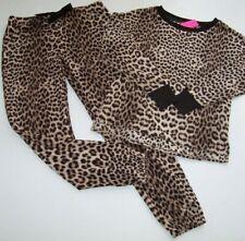 NWT Betsey Johnson Black/Brown ALL LEOPARD Soft Velour Pajama/Lounge Set L CAT