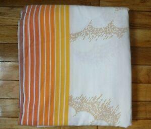 Vintage Orange Mod Rainbow Clouds Stripes Pacific FULL Size FLAT Sheet EUC Retro