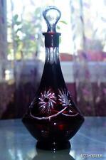 Ancienne Carafe Cristal taille double couche couleur rubis BOHEME