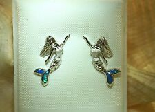 7.5MM HAWAIIAN RHODIUM ON 925 SILVER SATIN INLAID OPAL MERMAID STUD EARRINGS #1