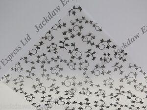 10 Sheets A4 100gsm Printed Vellum Black Ivy Design JLH045