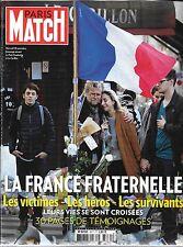 PARIS MATCH N° 3471--FRANCE FRATERNELLE-VICTIMES & HEROS & SURVIVANTS ATTENTATS