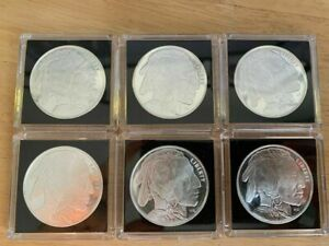 1 Troy oz Silver Lot, Buffalo & Indian Head Round X 6,  .999 Fine Marked HM