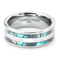 Tungsten Carbide Ring Mens Ladies Wedding Engagement Abalone Shell Inlay 8mm