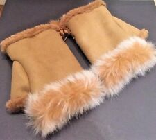 Ladies Fingerless Gloves/Mittens Faux Fur Colour Brown Brand NEW One Size Trendy