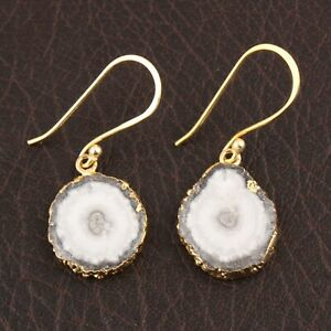 Gray Natural Solar Quartz Yellow Gold Plated Drop Dangle Earring Charm Jewelry