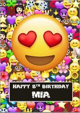 Emoji Love Heart Eyes Birthday Card A5 Personalised own wording