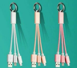 3in1 Braided Keychain Data Cable Fast Charging Cable For iPhone Samsung Type C