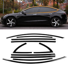 Fit Tesla Model 3 Window Trim Kit Black Window Moldings ABS Glossy Accessories