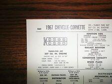 1967 Chevrolet Chevelle & Corvette EIGHT 325 HP 350 HP 327 CI V8 Tune Up Chart