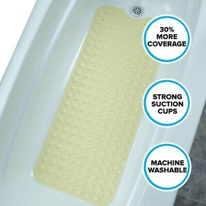 """Yellow Extra Long Bath Mat: 16""""W x 39""""L In-Tub Mat with Suction Cups"""