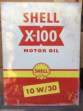 Shell X-100 Motor Oil TIN SIGN  Vintage Gas Ad Auto Garage Metal Wall Decor