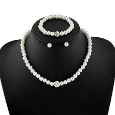 Women's Bride Wedding Jewelry Set Crystal Faux Pearl Necklace Bracelet Earring0P