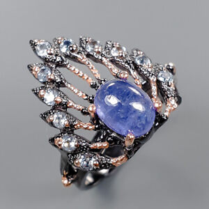 Tanzanite Ring Silver 925 Sterling Handmade Size 7.5 /R148211