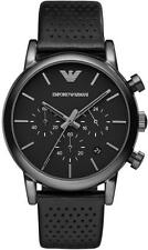 ARMANI Mens Chronograph Watch Ar1737 Black Dial Leather Strap COA