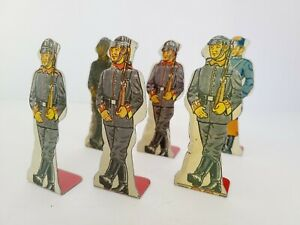 Lot of Six MARX Flat Tin Soldiers, German Infantry and French #15 #20