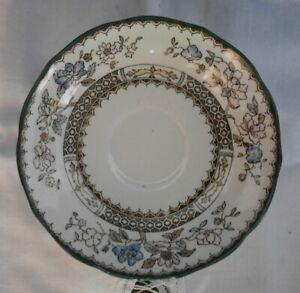 Spode Copeland Chinese Rose Green Trim Blue Flower Saucer Only