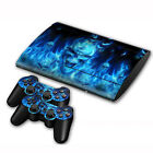 Blue Skull Skin Sticker Decal For PS3 Slim Console Controller Fashion