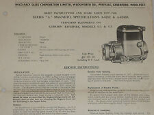 WICO PACY TYPE A MAGNETO SPECIFICATION SHEET (COBURN ENGINE A624Z A624BZ)
