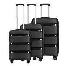 KONO PP Hand Cabin Luggage Hard Shell Suitcase 4 Wheel Trolley Travel Black Case
