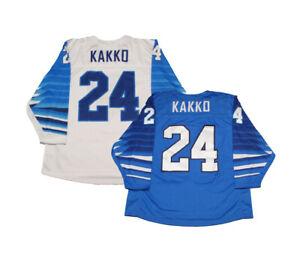 2019 Kappo Kakko #24 Team Finland Hockey Jerseys Printed Edition White Blue