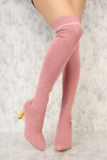 fc0122dac25 Stretch sock style Over the Knee Thigh High chunky Heel round Pointy Toe  Boots