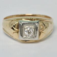 Gents Mens 14k Yellow European Cut 1/5 Ct Diamond Solitaire Estate Ring Size 10