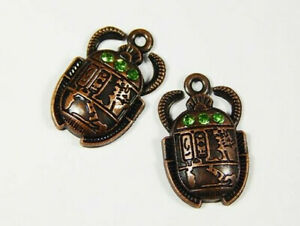2pcs 26x16mm Bronze Scarab Charms With Rhinestones  Egyptian Charms