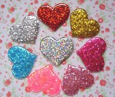 8 x Sparkle Glitter Heart Flatback Resin Embellishment Crafts Hair bow Cabochon