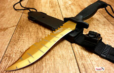 "NEW CSGO 12"" Tiger Tooth Gold BOWIE Hunting Knife Fixed Blade TACTICAL SURVIVAL"