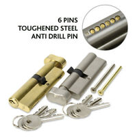 EURO-CYLINDER NICKEL DOOR LOCK 6 PIN THUMB TURN KEYED DIFFERENT (VARIOUS SIZES)