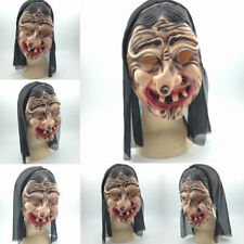 Horror Dress Latex Witch Mask Funky Witch Hair Halloween Costume Party Props