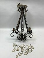 Vtg Wrought Iron Chandelier Gothic Medieval Spanish Revival Moe Light Fixture