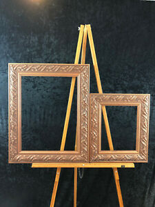 Lot of 2 Copper Colored Wooden Frames 8 x 10; 12 x 16