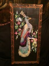 FAB! 1955 Mexican Folk Art Collage by C. Moore Real Feather Peacock Framed