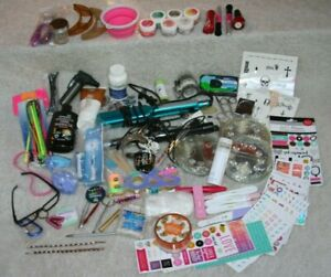 Junk Drawer Lot Iron Stickers Bracelets Necklace Tan Cream Oral B Brush Camera
