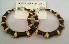 STEPHAN & CO GOLD TONE BAMBOO DESIGN LARGE HOOP EARRINGS RED OR BROWN