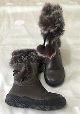 Girls SLOANE Brown Leather Faux Fur Boots. Size 24 (6.5). NWT