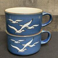 Vintage Blue Speckled Seagull Beach Ocean Stoneware Soup Coffee 10 oz Mug Set
