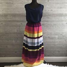 Fun & Flirt Womens 2X Dress Plus Size Striped Colorful Blouson Maxi Sleeveless