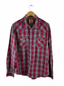 RM Williams Western Snap Button Up Shirt Mens Size XL Red Check Pockets Collared