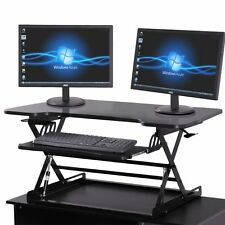 Black Adjustable Height Stand Up Desk Computer Workstation Lift Rising Laptop