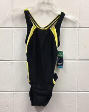Speedo Women Black Yellow White PowerFlex Eco One-Piece Swimwear Sz 6/32 NWT