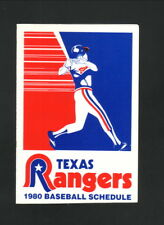 Texas Rangers--1980 Pocket Schedule--Arlington Vistiors Bureau