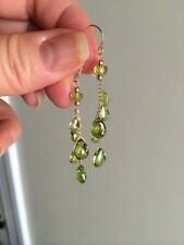 14K Green Peridot Briolette Drop Earrings