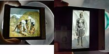 LOT 2 RARE MAGIC LANTERN GLASS SLIDE NUDE AFRICAN NATIVES MISSIONARIES CHRISTIAN