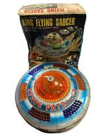 King Flying Saucer Tin Litho Battery Operated Japan No. 5112 with Box Works! VTG