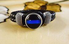 THIN BLUE LINE POLICE SNAP BUTTON ON BLACK leather bracelet gift bracelet